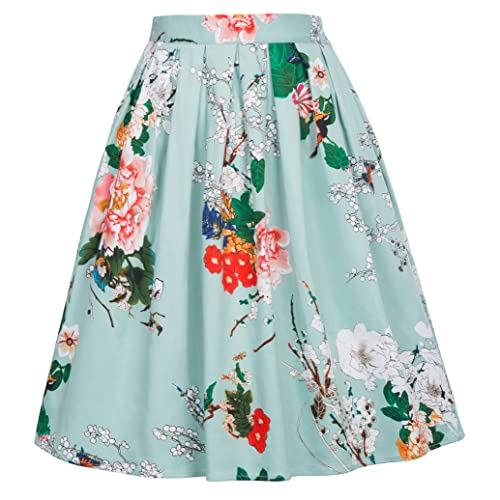 e1b69105da4595 GRACE KARIN Women Pleated Vintage Skirts Floral Print CL6294 (Multi-Colored)