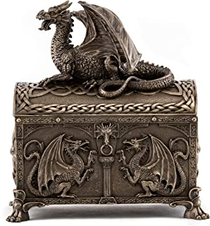 Top Collection Celtic Dragon Hinged Treasure of The Gold Chest - Mythical Celtic Dragon of Power and Wisdom in Premium Cold Cast Bronze - 7-Inch Collectible Jewelry Box & DND Game Dice Chest