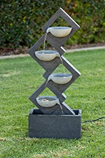 Alpine Corporation Soothing 4-Tier Zen Fountain with LED Lights - Indoor/Outdoor Water Fountain for Garden, Patio, Deck, Porch -  Yard and Home Art Decor