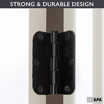 "Ilyapa 18 Pack Matte Black Door Hinges - 3.5 x 3.5 Inch Interior Hinges for Doors Flat Black with 5/8"" Radius Corners"