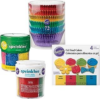 Wilton Metallic Cupcake Decorating Kit - 72 Metallic Cupcake Liners, Set of 4 Primary Icing Colors, Jar of 4 Colored Sugars and Jar of 6 Colored Jimmies Sprinkles