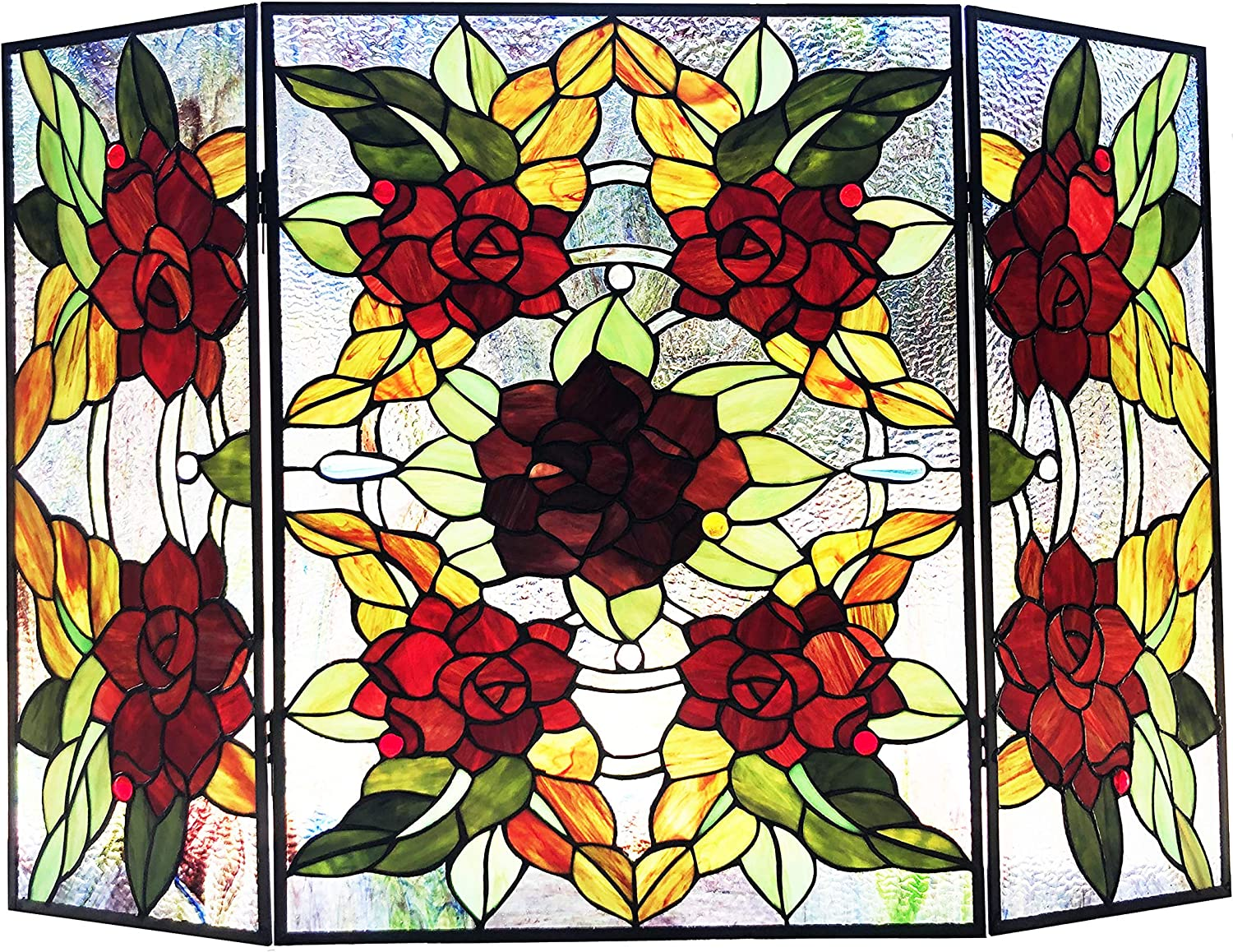 RADIANCE Gorgeous goods Tiffany-Style 3pcs Memphis Mall Folding Glass F Floral Stained
