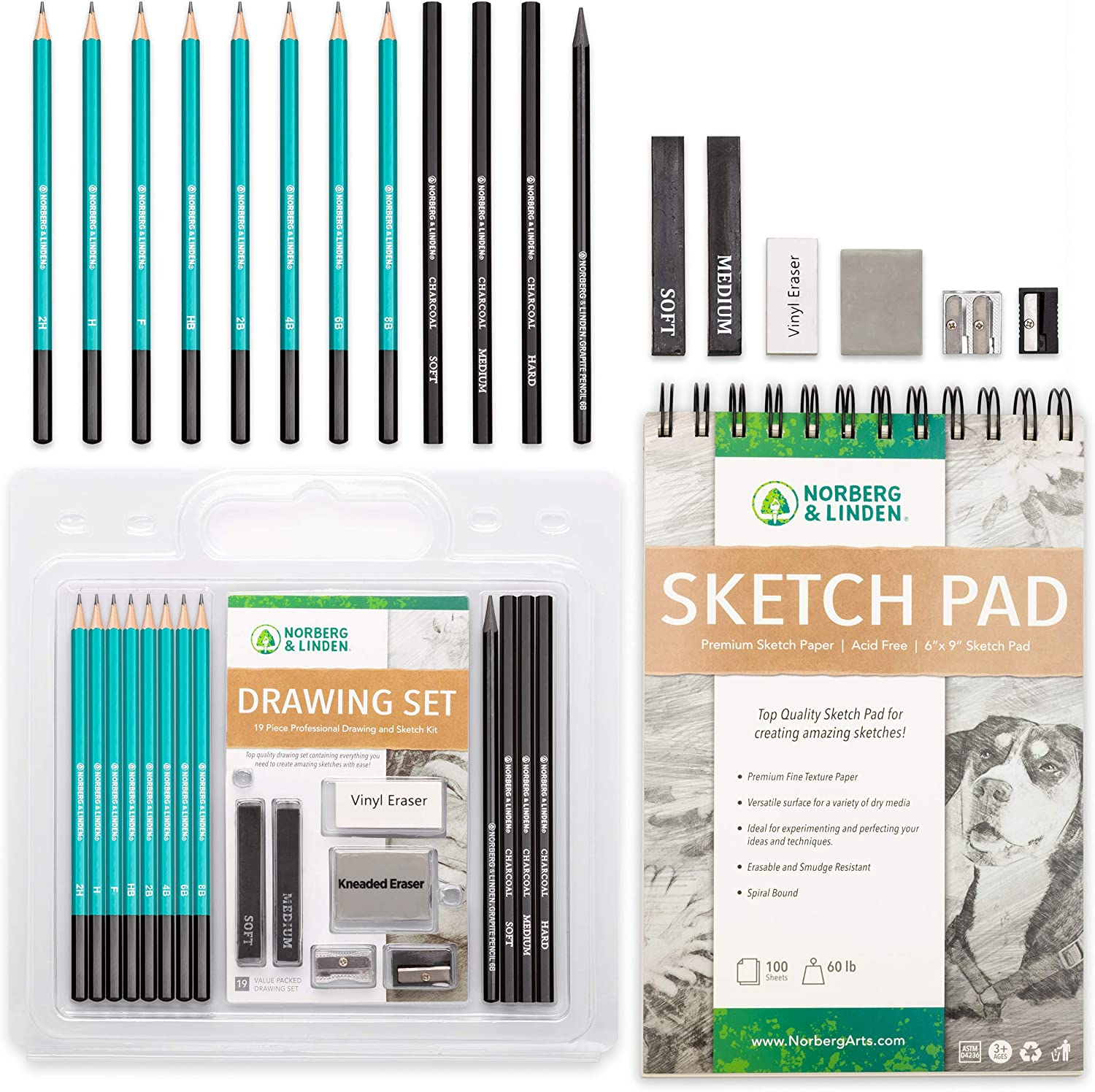 Norberg & Linden Drawing Set - Sketching and Charcoal Pencils - 100 Page Drawing Pad, Kneaded Eraser. Art Kit and Supplies for Kids, Teens and Adults, Sketch Set : Arts, Crafts & Sewing