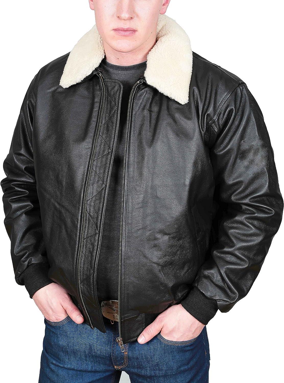 Mens Real Black Leather Pilot Jacket Aviator Air Force Top Gun Style Coat - WILL