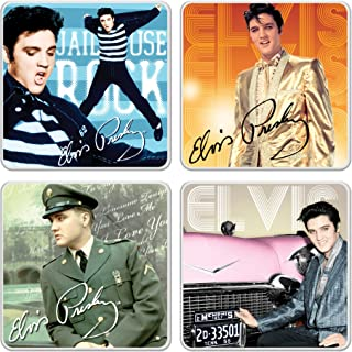 Vandor 53271 Elvis Presley 4 Piece Ceramic Coaster Set, 3.75 x 3.75 x .25 Inches