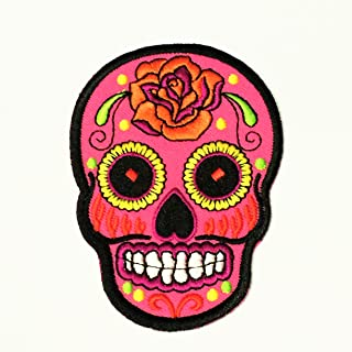 Patch Portal Pink Mexican Sugar Skull Candy 3.5 Inches Biker Motorcycle Day of The Dead Aztec Orange Flower Embroidered Ir...