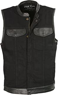 35ed7f64d9 Club Vest Men's Denim Club Vest w/ Leather Trim & Hidden Zipper (Black,