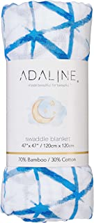 Silky Soft Muslin Swaddle Blanket (Neutral Blue Print 47x47) for Newborn, Unisex, Large Bamboo/Cotton - Receiving Blanket, Swaddling Wrap, Sleepsack Carseat Cover by adaline - Perfect Baby Shower Gift