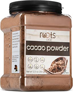 Roots Circle Raw Cacao Powder | Delicious Crushed Cacao Beans Superfood Is A Great Sugar-Free Substitute for Chocolate | Paleo, Keto, Vegan, Nut-Free, Non-GMO & Gluten Free | 12.3-oz