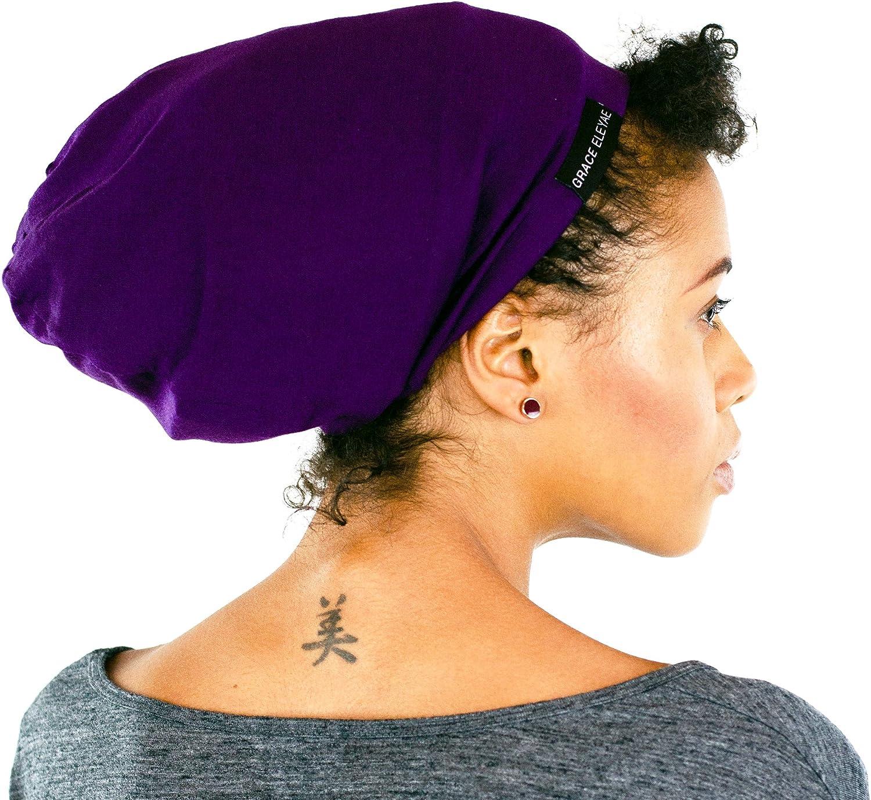 Grace Eleyae GE Sleep Cap | Slap Silky Sleeping Stylish Beanie Hat Premium Quality Head Cover for Curly Hair Women Soft & Smooth Sleep Caps (Purple)