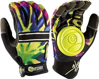 Sector 9 BHNC Longboard Skateboard Slide Gloves Limeburst With Slide Pucks Size L/XL