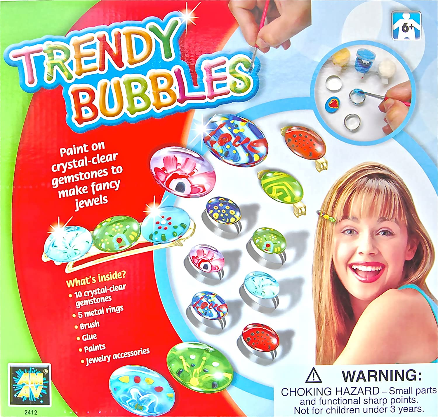Kids Trendy Bubbles Art Craft kit for Making your Own Gemstones Jewels Ring