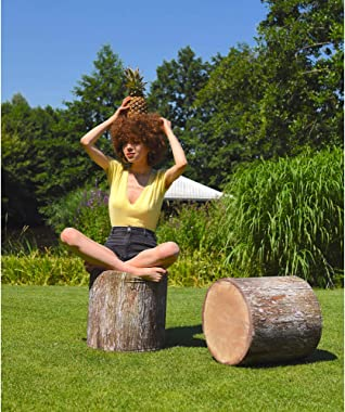 Delsit Woody Pouffe Outdoor Indoor - Pouf Ottoman, Looks Like a Tree Trunk, European Made, Lightweight, Waterproof, Use as Fl