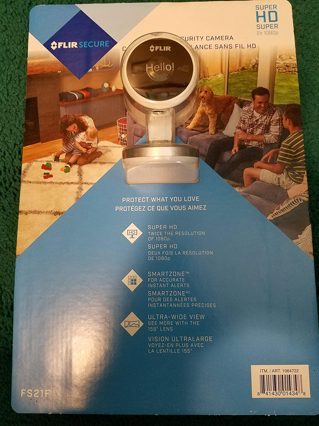 FLIR Secure 2K Super HD 4MP Wi-Fi Home Security Camera with RapidRecap, SmartZone and HDR, Up to 40' Night Vision