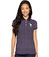 U.S. POLO ASSN. - Floral Print Stretch Pique Polo Shirt