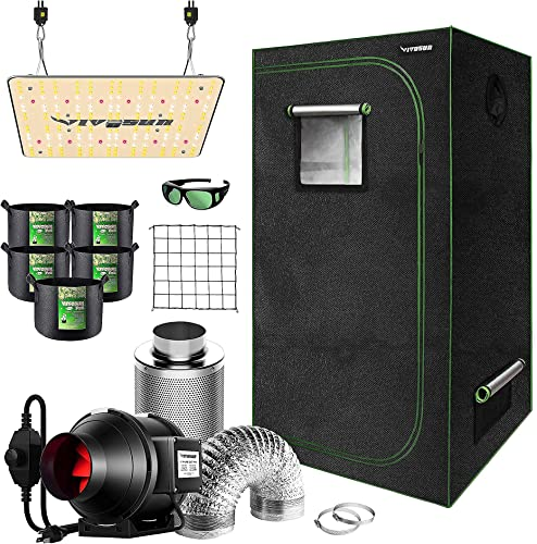 """high quality VIVOSUN 32""""x32""""x63"""" Mylar Hydroponic Grow Tent Complete Kit with 4 Inch 190 CFM Inline Duct popular Fan Package, VS1000 LED high quality Grow Light, Glasses, Grow Bags, Trellis Netting sale"""