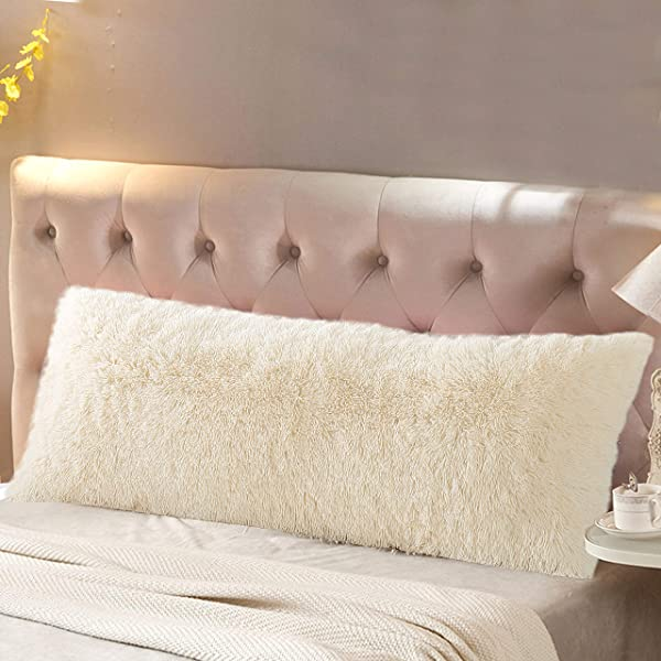 Reafort Luxury Long Hair PV Fur Faux Fur Body Pillow Cover Case 21 X54 With Hidden Zipper Closure Cream 21 X 54 Pillow Cover
