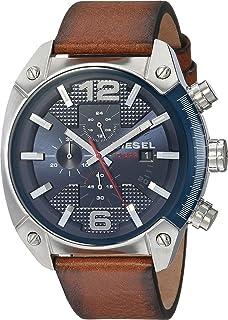 Men's Overflow Brown Leather Watch DZ4400