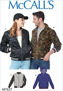 McCall's Patterns M7637 XN Misses' and Men's Bomber Jackets, Size XL-XXL-3XL
