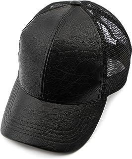 d04f285d C.C Hatsandscarf Mesh Trucker Faux Leather Textured Baseball Cap (BA-27)