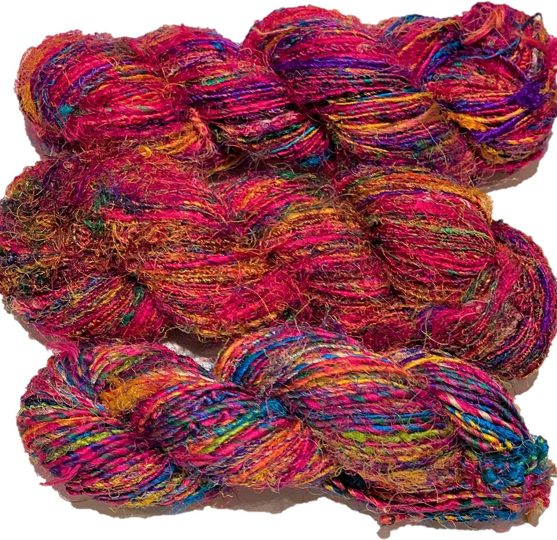 Lot#3 vibrant colors Silk Sari Yarn