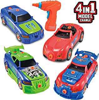 JOYIN Take Apart Toy Racing Car Construction Toys Build Your Own Race Car Set with Light and Sound Real Working Drill and Screws Over 50 Pieces Construction Vehicle Car Toy