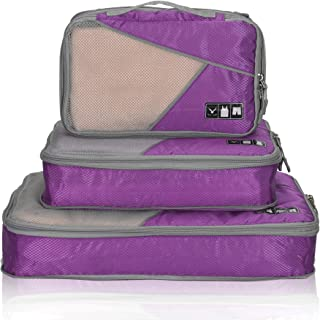 Hynes Eagle Travel Compression Packing Cubes Expandable Packing Organizer 3 Pieces Set Purple