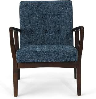 Christopher Knight Home 305999 Conrad Fabric Mid-Century Birch Club Chair, Indigo Weave and Dark Espresso