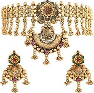 I Jewels 18k Rajwadi Gold Plated Traditional Choker Brass Jewellery Set With Earrings Intricately Engraved With Bride & Gr...