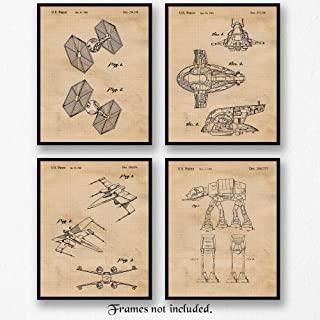 Original Star Wars Land & Air Vessels Patent Poster Prints, Set of 4 (8x10) Unframed Photos, Great Wall Art Decor Gifts Under 20 for Home, Office, Garage, Student, Teacher, Comic-Con & Movies Fan