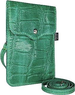 SKUTARI® LEDER MAIDA CROCO-Look Damen Handytasche | aus hochwertigem Veloursleder | Umhängetasche | Handy Mini-Tasche | Ge...