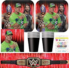 BashBox WWE Birthday Party Supplies Pack Including Plates, Cups, Napkins, Tablecover (16 Guests) Plus BONUS Candles