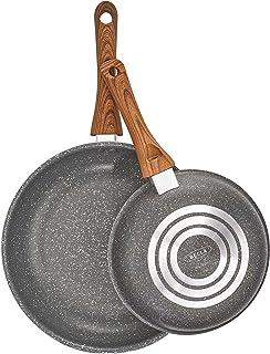 BELLA 14785 - Sartén de grano de madera y carbón de 8 y 10 pulgadas, juego de dos unidades, de madera, de acero inoxidable, color único
