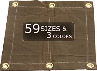 8x14 18oz Heavy Duty Canvas Tarp with Grommets - Tan- Water, Mold and Mildew Resistant