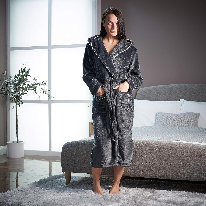 CityComfort Damen Super Soft Mit Kapuze Morgenmantel Graue Paspelierung