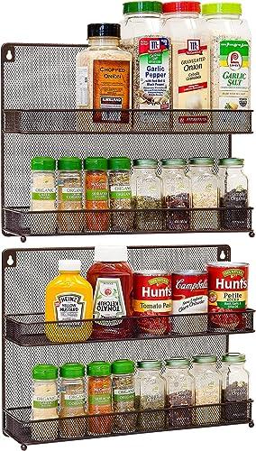 discount CAXXA 2 online PK 2 lowest Tier Mesh Kitchen Counter-top or Wall Mount Spice Rack Jars Storage Organizer, Bronze outlet sale