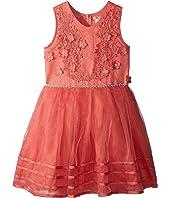 Matte Satin Dress w/ Flowers (Little Kids/Big Kids)