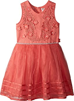 Matte Satin Dress w/ Flowers (Little Kids/Big Kids)