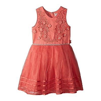Nanette Lepore Kids Matte Satin Dress w/ Flowers (Little Kids/Big Kids) (Coral) Girl