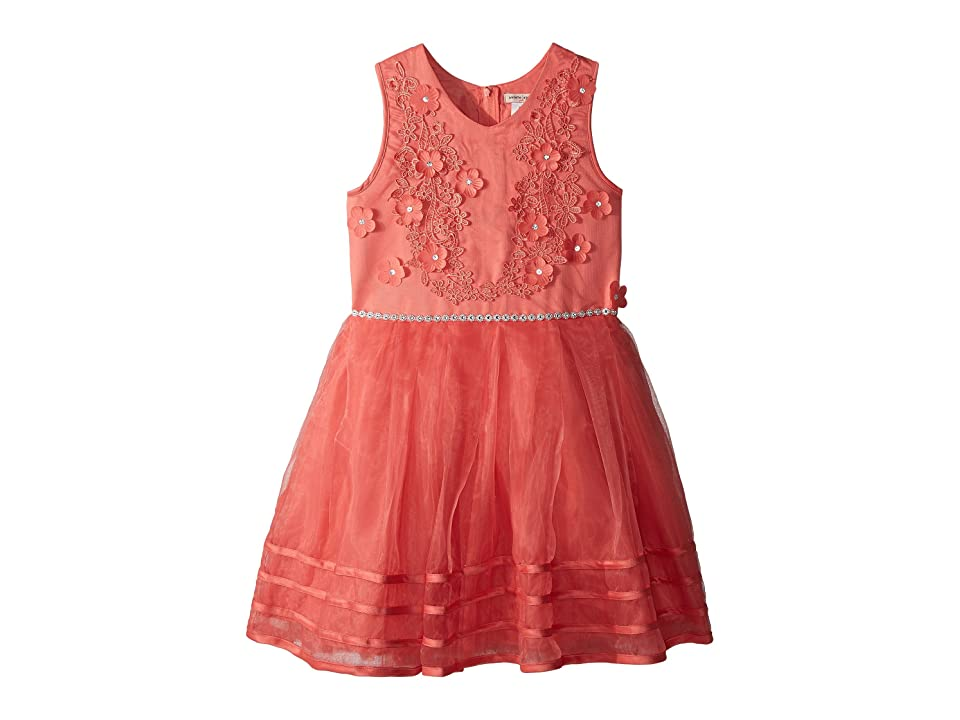 Nanette Lepore Kids Matte Satin Dress w/ Flowers (Little Kids/Big Kids) (Coral) Girl