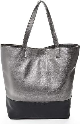 ad3de8ba84441  Keira  Designer Tote Bag in Black and Metallic Platinum Soft Italian Nappa  Leather Made.