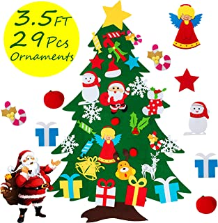 COCOMOON Felt Christmas Tree - 3.6 FT 3D DIY Set for Kids with 29 Pcs Ornaments Wall Decor with Hanging Rope for Kids Xmas Gifts Home Door Decoration (Christmas Tree)