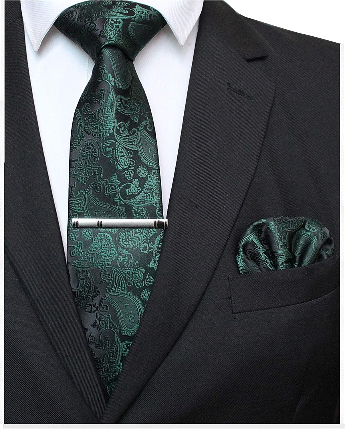JEMYGINS Mens Solid Color Paisley Necktie and Pocket Square with Tie Clip Sets