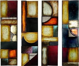 Benzara 79 99144 Metal Wall Plaque Unique Wall Decor, Multicolor