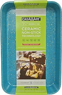 casaWare Toaster Oven Baking Pan 7 x 11-inch Ceramic Coated Non-Stick (Blue Granite)