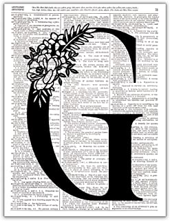 G - Monogram Wall Decor, Letter Wall Art, Dictionary Page Photo Art Print, 8x10 UNFRAMED