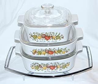 """Set of 7 - Vintage 1970s Corning Ware"""" Spice O' Life"""" Covered Casserole Skillet Baking Dishes w/Lids and Rack (2 Quart, 1...."""