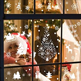 TATHIA 304PCS Christmas White Snowflake Window Stickers Decal Stickers Without Glue Electrostatic Stickers Winter Wonderland Decorations Ornaments Party Supplies