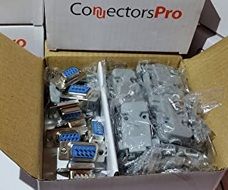 Pc Accessories - Connectors Pro 10 Sets Solder Cup DB9 Female + Plastic Hoods, 9 Pins D-Sub Connector & Hood Set, 20-Pack (10 DB9 Females + 10 Hoods)