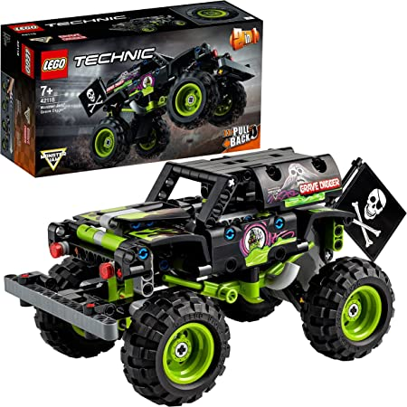 LEGO Technic Monster Jam Grave Digger e Buggy Fuoristrada con Motore Pull-Back, Giocattoli 2 in 1 da Costruzione, 42118